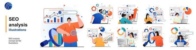 Seo analysis isolated set. Analyze data, successful strategy, optimization. People collection of scenes in flat design. Vector illustration for blogging, website, mobile app, promotional materials.