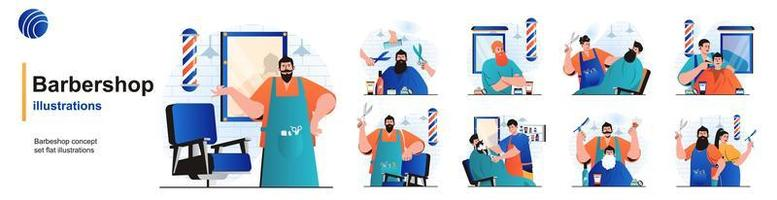Barbershop isolated set. Hairdresser doing haircuts or shaving beard in salon. People collection of scenes in flat design. Vector illustration for blogging, website, mobile app, promotional materials.