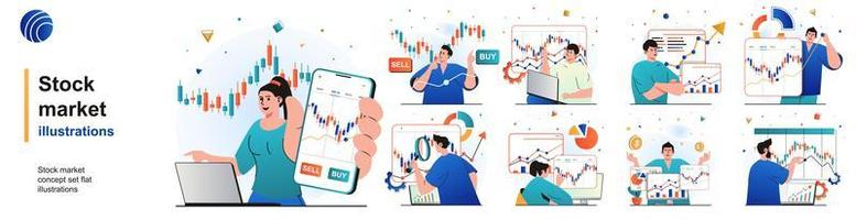 Stock market isolated set. Financial statistics, market research, investments. People collection of scenes in flat design. Vector illustration for blogging, website, mobile app, promotional materials.