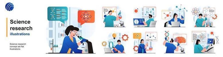 Science research isolated set. Scientists make tests on laboratory equipment. People collection of scenes in flat design. Vector illustration for blogging, website, mobile app, promotional materials.