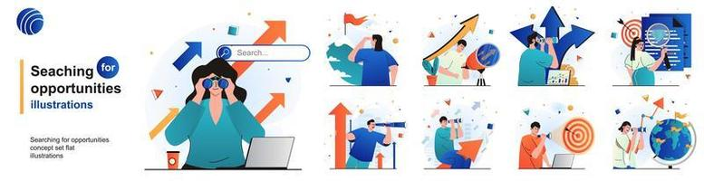 Searching for opportunities isolated set. Human resources and HR management. People collection of scenes in flat design. Vector illustration for blogging, website, mobile app, promotional materials.