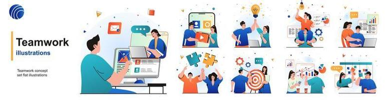 Teamwork isolated set. Colleagues work together, brainstorming, collaboration. People collection of scenes in flat design. Vector illustration for blogging, website, mobile app, promotional materials.