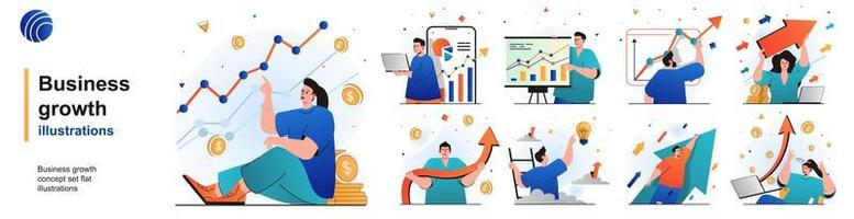 Business growth isolated set. Successful development and financial growth. People collection of scenes in flat design. Vector illustration for blogging, website, mobile app, promotional materials.