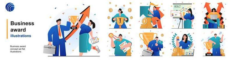 Business award isolated set. Businessman and businesswoman celebrate victory. People collection of scenes in flat design. Vector illustration for blogging, website, mobile app, promotional materials.