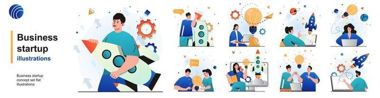 Business startup isolated set. Successful development of new business idea. People collection of scenes in flat design. Vector illustration for blogging, website, mobile app, promotional materials.