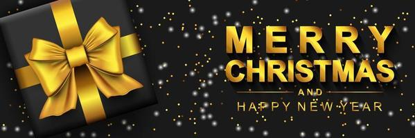 Merry Christmas 2022 and Happy New Year banner. Dark background with golden text, gift box and glowing glitter. Xmas holiday poster. Vector illustration with realistic elements for header website