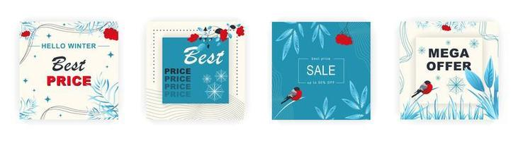 Modern winter square sale poster for Merry Christmas templates. Suitable for social media posts, poster, mobile apps, banners design and web ads, vector backgrounds, promotion materials.