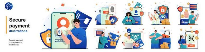 Secure payment isolated set. Protection of financial transactions and banking. People collection of scenes in flat design. Vector illustration for blogging, website, mobile app, promotional materials.