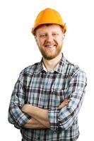 divertido, feliz, hombre barbudo, en, un, casco foto