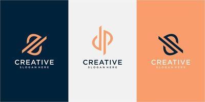 SP Letter Logo with Intersected Design and Round Frame Vector Illustration. letter DP logo design concept