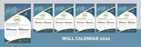 Creative corporate 12 months wall calendar 2022, week calendar, calendar layout template design vector