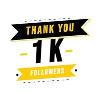 Thank you 1K social media followers template vector