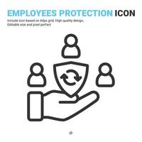 An inclusive workplace icon with filled outline style isolated on white background. Vector simple element illustration employees protection sign symbol icon concept for business. Editable color
