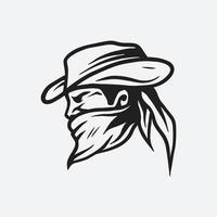 Bandit cowboy illustration vector