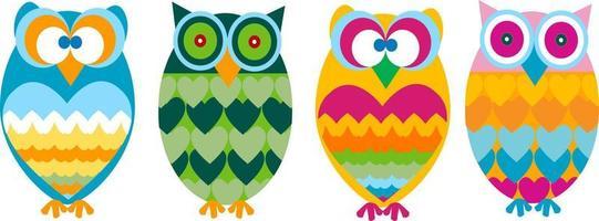 cute owl cartoon set vector