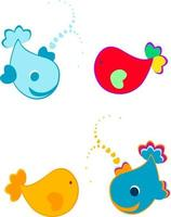cute whale icon set vector