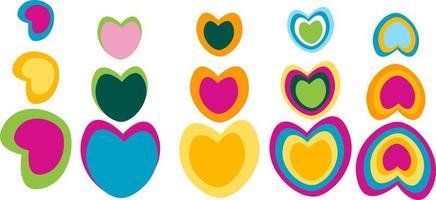 colorful heart shape set vector
