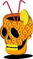 pineapple skull glass illustration vector
