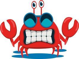 cute crab cartoon character illustration vector