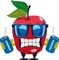 cute apple character illustration vector