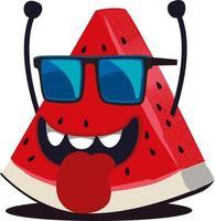cute watermelon character illustration vector