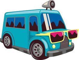 bus car cartoon illustration vector
