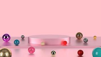 Soporte de producto de color rosa pastel con fondo de mármol de colores. concepto de geometría mínima abstracta. plataforma de pedestal de podio de estudio. exposición comercial comercial etapa actual. Render de ilustración 3d foto
