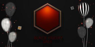 Venta de banner de viernes negro con regalos y globos ilustración 3d foto