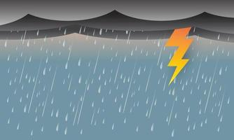 rain and storm with lightning thunder, Black sky weather, Natural disaster, vector design.