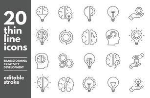 Brainstorm thin line icons set. Artificial light, brain, lightbulb, creative, Development, knowledge, brainstorming, brainstorm solution Editable stroke. Vector Illustration