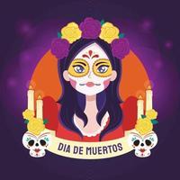 Face Painted Woman Dressing For Dia De Muertos vector