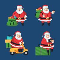 How Modern Santa Handing Out Childrens Gifts vector