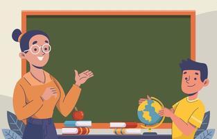 profesor enseñando al alumno en la clase vector