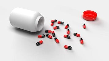 Group of Pills Medicine spill from bottle on white background. Medical research and pharmacy concept. Drug addiction. Health care prescription treatment. Supple food vitamin. 3D illustration render photo