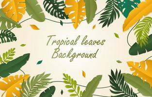 Gradient tropical flat background mural different leaves vector