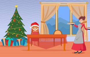 Background winter activity family celebration christmas vector