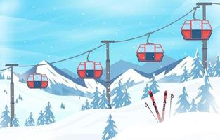 Winter background sport cable car snow nature vector