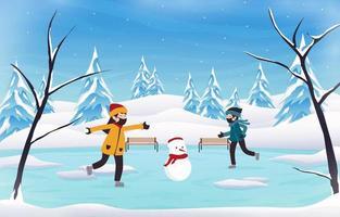Winter background wonderland kids playing snowboarding vector