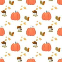 Autumn seamless pattern, with pumpkin, mushrooms and leaves. vector