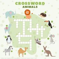 Children's crossword puzzle with cute animals. Educational games for children. vector
