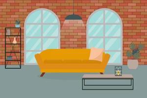 Interior de sala de estar minimalista en estilo loft, con pared de ladrillos, sofá, grandes ventanales. vector