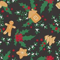 Christmas pattern with gingerbread, mistletoe and holly on a wooden board background vector