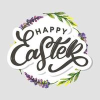 Happy Easter hand sketched logotype, badge typography icon. Lettering Happy Easter with flowers for greeting card, invitation template. Retro, vintage lettering banner poster template background vector