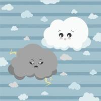 Cute fluffy clouds in sky. Playful clouds isolated vector illustration