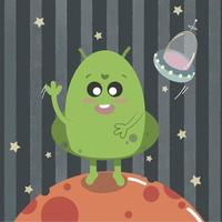 A cute happy alien with ufo from space isolated vector illustration