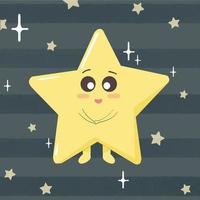 Cute and adorable shiny star from the sky. Starry night sky scene. vector