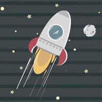 Cute spaceship moving towards moon. Spacecraft Rocket Jet Alien UFO. vector