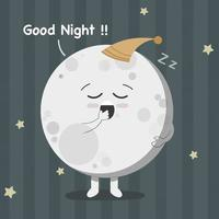 Cute sleepy moon isolated vector illustration. Cute moon character.
