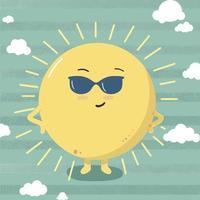 Cute sun wearing sunglasses on summer day. Stylish summer sun. Vector illustration isolated on blue background.