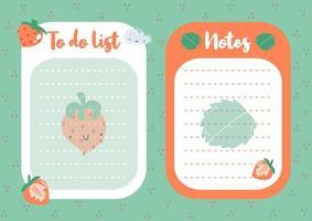 conjunto de lista de tareas pendientes y papel de notas con lindas fresas y hojas vector